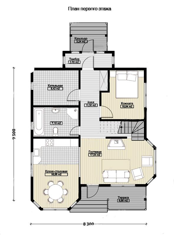 Проект двухэтажного дома 140 м2 план первого этажа