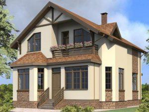 Проект двухэтажного дома 140 м2 общий вид