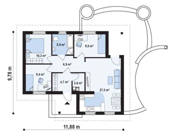 План одноэтажного дома на 75 квадратов с тремя спальнями
