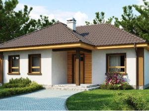 Проект одноэтажного дома 75м2 с тремя спальнями